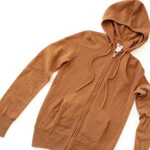 J.Crew 100% Cashmere zip-front hoodie, Size M